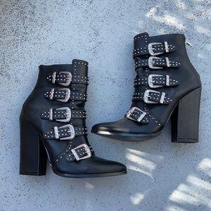 Steve Madden Comet studded & buckles heeled boots